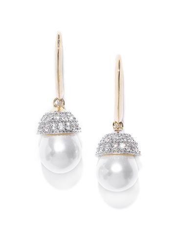 AADY AUSTIN | Aady Austin Off-White Gold-Plated CZ Stone-Studded Contemporary Drop Earrings