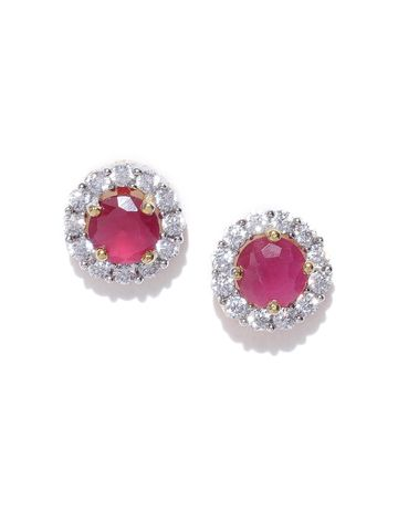 AADY AUSTIN | Aady Austin Pink Gold-Plated CZ Stone-Studded Circular Studs