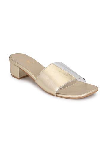 AADY AUSTIN | Aady Austin Gold Block Heel Sandals