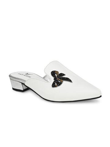 AADY AUSTIN   Aady Austin Women's White Mule Block Heel Sandals