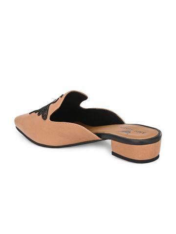 AADY AUSTIN | Aady Austin Women's Beige Mule Block Heel Sandals