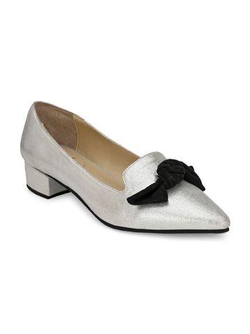 AADY AUSTIN | Aady Austin Women's Trendy Silver Pointed Toe Block Heel