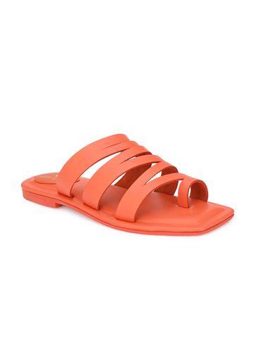AADY AUSTIN   Aady Austin Women's Trendy Orange Square Toe Flats