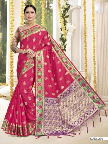 POONAM TEXTILE | TRADITIONAL BANARASI RED ART SILK WOVEN ZARI FESTIVE SAREE