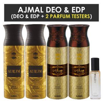 Ajmal | Ajmal 2 Aurum & 2 Wisal Dhahab Deo each 200ML & Aretha EDP 20ML Pack of 5 (Total 820ML) for Men & Women + 2 Parfum Testers