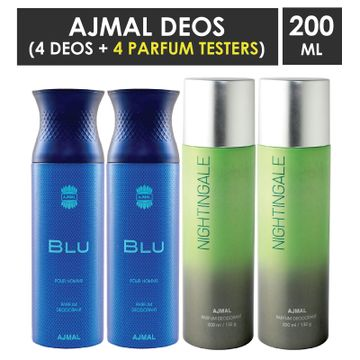 Ajmal | Ajmal 2 Blu Homme for Men and 2 Nightingale for Men & Women High Quality Deodorants each 200ML Combo pack of 4 (Total 800ML) + 4 Parfum Testers
