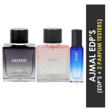 Ajmal | Ajmal Ascend & Neea EDP each 100ML & Yearn  EDP 20ML Pack of 3 (Total 220ML) for Men & Women + 2 Parfum Testers