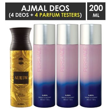 Ajmal | Ajmal 1 Aurum Femme for Women and 3 Persuade for Men & Women High Quality Deodorants each 200ML Combo pack of 4 (Total 800ML) + 4 Parfum Testers