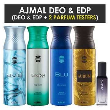 Ajmal | Ajmal Avid & Raindropss & Blu & Aurum Deo each 200ML & Ascend  EDP 20ML Pack of 5 (Total 820ML) for Men & Women + 2 Parfum Testers