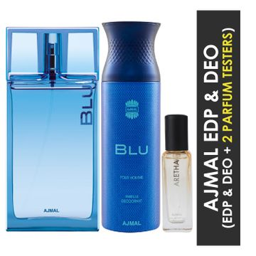 Ajmal | Ajmal Blu EDP 90ml and Blu Deo 200ml & Aretha EDP 20ML Pack of 3 (Total 310ML) for Men & Women + 2 Parfum Testers
