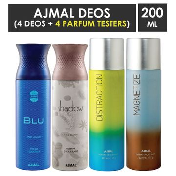 Ajmal | Ajmal 1 Blu Homme for Men, 1 Shadow Homme for Men, 1 Distraction and 1 Magnetize for Men & Women High Quality Deodorants each 200ML Combo pack of 4 (Total 800ML) + 4 Parfum Testers