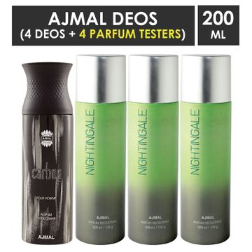 Ajmal | Ajmal 1 Carbon for Men and 3 Nightingale for Men & Women High Quality Deodorants each 200ML Combo pack of 4 (Total 800ML) + 4 Parfum Testers