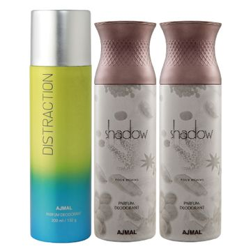 Ajmal | Ajmal 1 Distraction for Men & Women and 2 Shadow Him for Men High Quality Deodorants each 200ML Combo pack of 3 (Total 600ML) + 3 Parfum Testers