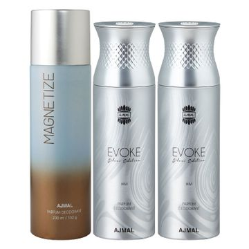 Ajmal | Ajmal 1 Magnetize for Men & Women and 2 Evoke Silver Edition for Him for Men High Quality Deodorants each 200ML Combo pack of 3 (Total 600ML) + 3 Parfum Testers