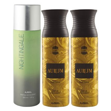 Ajmal | Ajmal 1 Nightingale for Men & Women and 2 Aurum Femme for Women High Quality Deodorants each 200ML Combo pack of 3 (Total 600ML) + 3 Parfum Testers