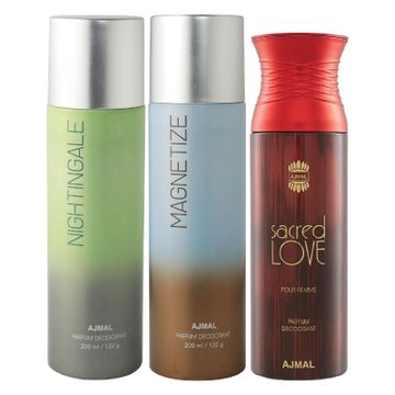 Ajmal | Ajmal Nightingale and Magnetize for Men & Women and Sacred Love for Women High Quality Deodorants each 200ML Combo pack of 3 (Total 600ML) + 3 Parfum Testers