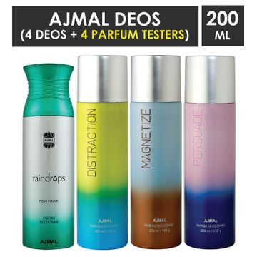 Ajmal | Ajmal 1 Raindrops Femme for Women, 1 Distraction, 1 Magnetize and 1 Persuade for Men & Women High Quality Deodorants each 200ML Combo pack of 4 (Total 800ML) + 4 Parfum Testers
