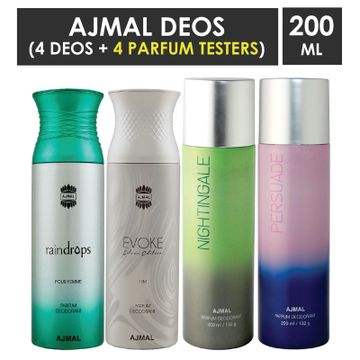 Ajmal | Ajmal 1 Raindrops Femme for Women, 1 Evoke Silver Edition for men, 1 Nightingale and 1 Persuade for Men & Women High Quality Deodorants each 200ML Combo pack of 4 (Total 800ML) + 4 Parfum Testers