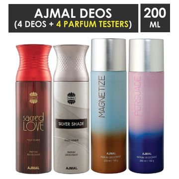 Ajmal | Ajmal 1 Sacred Love for Women, 1 Silver Shade for Men, 1 Magnetize and 1 Persuade for Men & Women High Quality Deodorants each 200ML Combo pack of 4 (Total 800ML) + 4 Parfum Testers