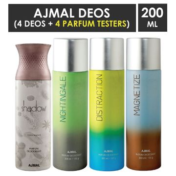 Ajmal | Ajmal 1 Shadow Him for Men, 1 Nightingale, 1 Distraction and 1 Magnetize for Men & Women High Quality Deodorants each 200ML Combo pack of 4 (Total 800ML) + 4 Parfum Testers