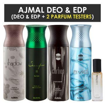 Ajmal | Ajmal Shadow Homme & SacrificeIIHim & Carbon & Avid Deo each 200ML & Aretha EDP 20ML Pack of 5 (Total 820ML) for Men & Women + 2 Parfum Testers