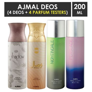 Ajmal | Ajmal 1 Shadow Homme for Men, 1 Wisal for Women, 1 Nightingale and 1 Persuade for Men & Women High Quality Deodorants each 200ML Combo pack of 4 (Total 800ML) + 4 Parfum Testers
