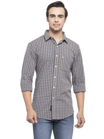 Allen Cooper   Allen Cooper Black & Grey & Yellow Regular Fit Casual Shirts  For Men