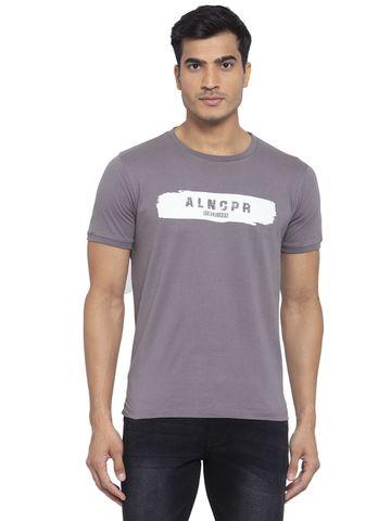 Allen Cooper   Allen Cooper Anthra Regular Fit Round Neck T Shirts  For Men
