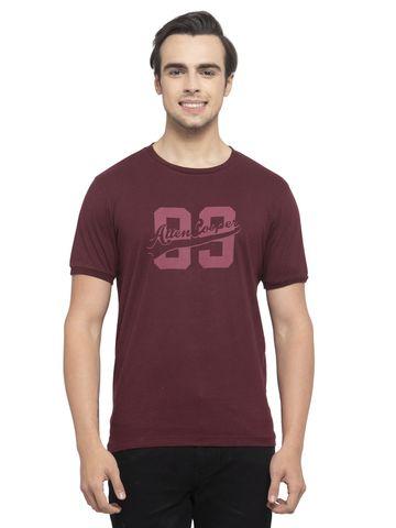 Allen Cooper | Allen Cooper Maroon Regular Fit Round Neck T Shirts  For Men
