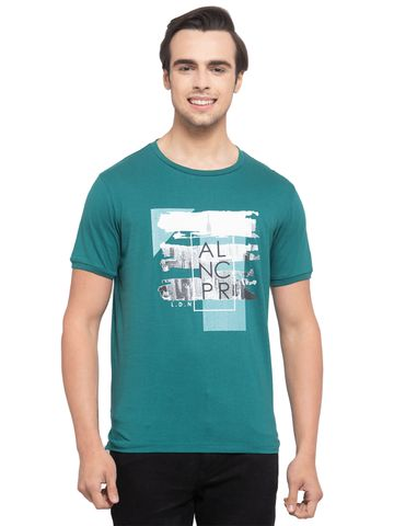 Allen Cooper | Allen Cooper Green Regular Fit Round Neck T Shirts  For Men