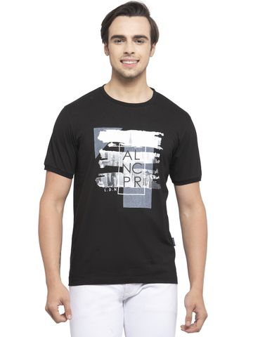 Allen Cooper | Allen Cooper Black Regular Fit Round Neck T Shirts  For Men