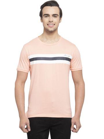 Allen Cooper   Allen Cooper Peach Regular Fit Round Neck T Shirts  For Men