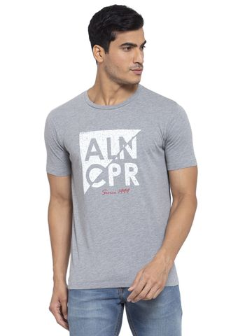 Allen Cooper   Allen Cooper Greymelange Regular Fit Round Neck T Shirts  For Men
