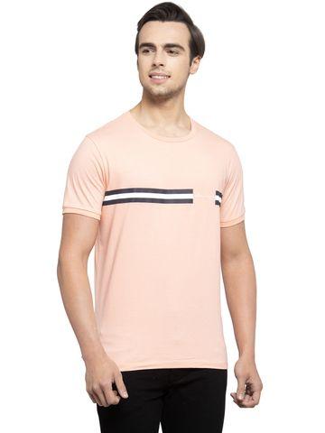 Allen Cooper | Allen Cooper Peach Regular Fit Round Neck T Shirts  For Men