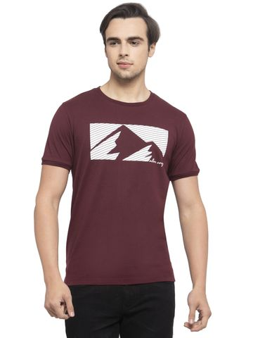 Allen Cooper   Allen Cooper Maroon Regular Fit Round Neck T Shirts  For Men