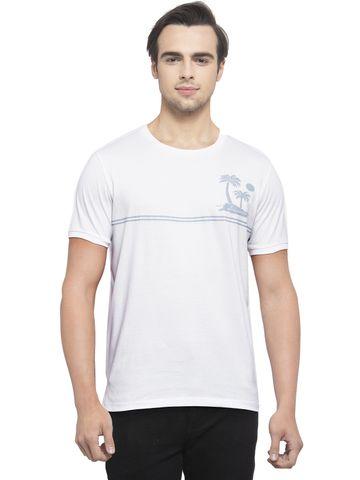 Allen Cooper | Allen Cooper White Regular Fit Round Neck T Shirts  For Men
