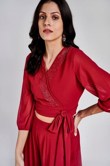 AND | Maroon Solid Fit And Flare Co-Ordinate Set