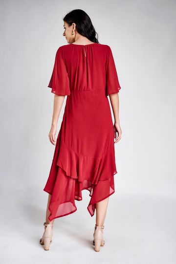AND | Cherry Wood Round Neck Fit and Flare Midi Dress