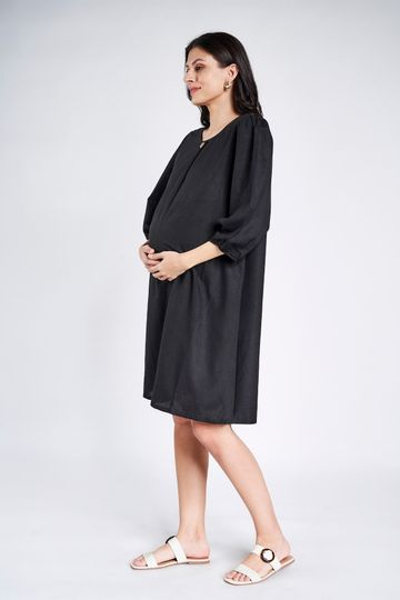 AND | Sustainable Black Maternity Knee Length Dress