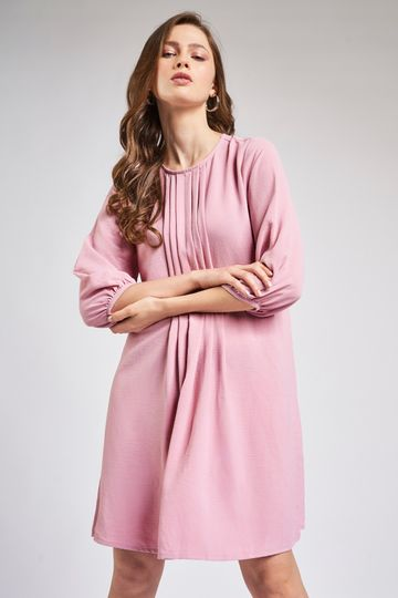 AND | Pink Pleated A-Line Knee Length Dress