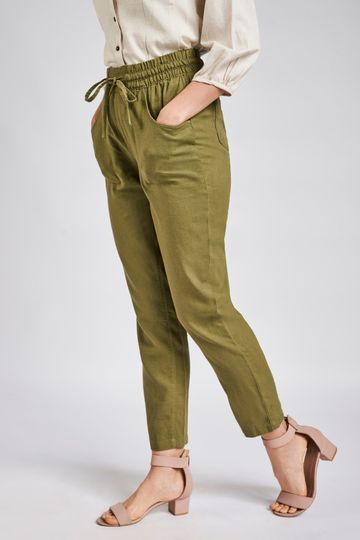 AND | Sustainable Olive Ankle Length Bottom