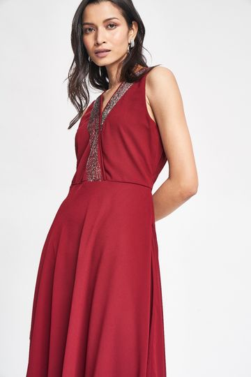 AND | Maroon Solid Embroidered Fit & Flare Dress
