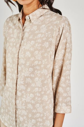 AND | Beige Floral Shirt Style Top