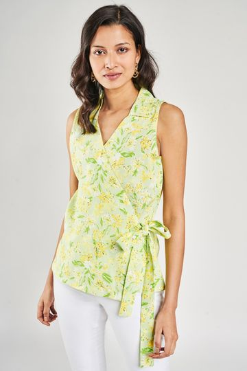 AND | Lime Floral Printed Fit And Flare Top