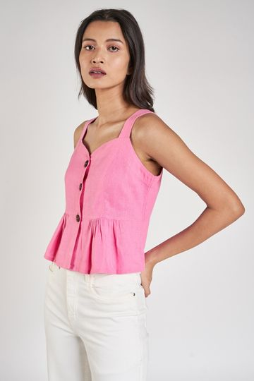 AND | Pink Solid Cropped Top