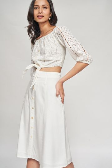 AND | White Self Design Embroidered Cropped Co-Ordinate Set