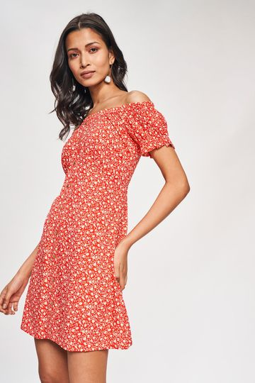 AND   Red Floral Printed Fit And Flare Dress