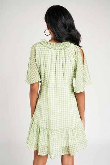 AND | Sage Green Checked Printed Fit And Flare Dress
