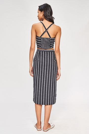 AND | Black Striped Cropped Co-Ordinate Set