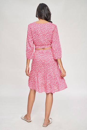 AND | Pink Floral Printed Fit And Flare Co-Ordinate Set